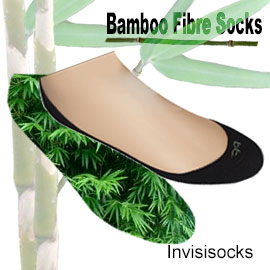 Bamboo invisisocks in both half and quarter types. Colours available for bamboo creations invisisocks is black and white