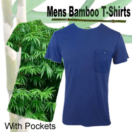 comfortable bamboo mens t-shirts with pockets in many sizes and colours