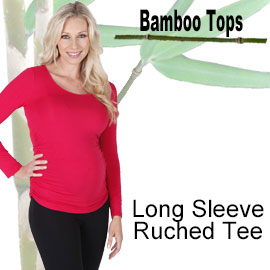 long sleeve ruched tee bamboo top online shop category