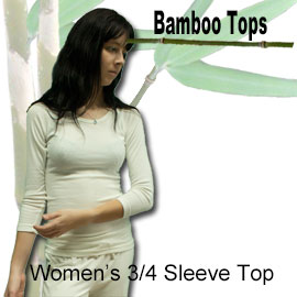 womens 3/4 sleeve bamboo top online shop category