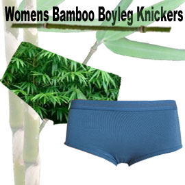 comfortable womens bamboo knickers in a boyleg style. Many sizes and colours available though our online bamboo product store.