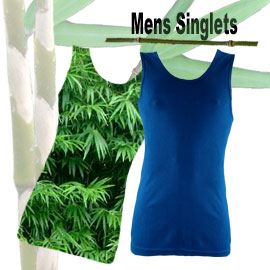 comfortable bamboo fibre mens singlets in many sizes and colours