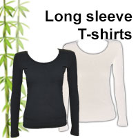 womens bamboo long sleeve t-shirts in black and white that are very soft against the skin