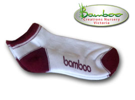 Bamboo Ped or Sports socks - White/Maroon