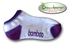 Bamboo Ped or Sports socks - White/Purple