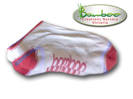 Bamboo Ped or Sports socks - White/Watermelon