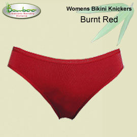 Womens Bamboo Bikini Knickers - Burnt Red