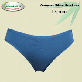 Womens Bamboo Bikini Knickers - Denim