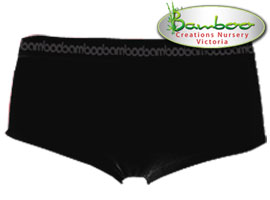 Womens Bamboo Boyleg Knickers - Black