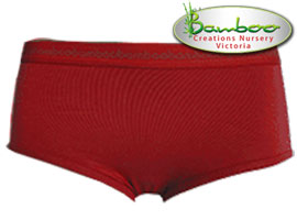 Womens Bamboo Boyleg Knickers - Burnt Red