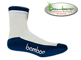 Bamboo Crew/Sport Socks - White/Blue