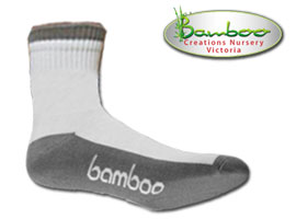 Bamboo Crew/Sport Socks - White/Grey