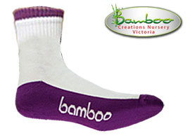 Bamboo Crew/Sport Socks - White/Purple