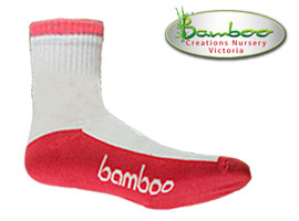 Bamboo Crew/Sport Socks - White/watermelon