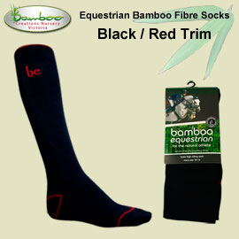 Bamboo equestrian socks - Black with red trim