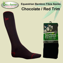 Bamboo equestrian socks - Chocolate with red trim