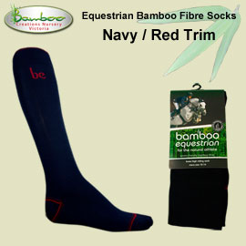 Bamboo equestrian socks - Navy with red trim