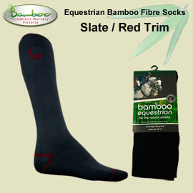 Bamboo equestrian socks - Slate / Red Trim