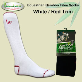 Bamboo equestrian socks - White with red trim