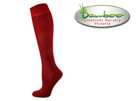 Womens bamboo knee high socks - Burnt Red