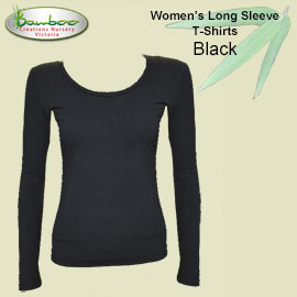 Womens bamboo long sleeve T-shirt - Black