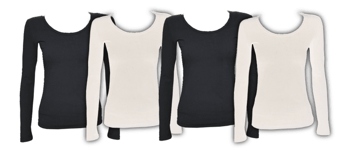womens bamboo long sleeve t-shirts in many both black and white by Bamboo Creations Victoria