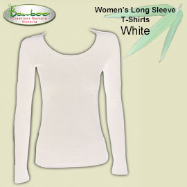 Womens bamboo long sleeve T-shirt - White