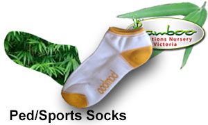 Bamboo sports/ped socks in many different colours. most ped socks have a white base with other matching colours.